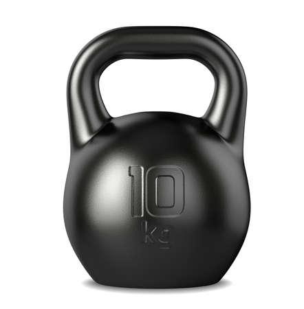 3d rendering of the 10 kilograms black kettlebell on white background photo