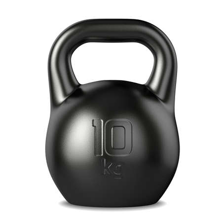 kilograms: 3d rendering of the 10 kilograms black kettlebell on white background Stock Photo