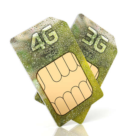 3g: 3d rendering of 3G and 4G smartphone sim card isolated on white background