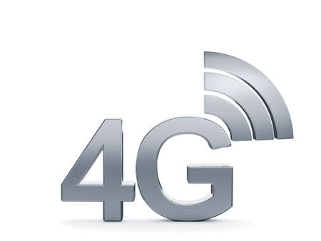 wireles: 3d renderin of 4G cellular high speed data connection concept icon