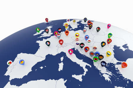 location: 3d render of Europe map with countries flags location pins