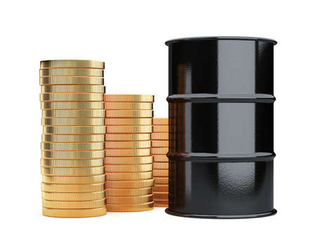 crude: 3d rendering of black oil barrels and golden coins money cash isolated on white background
