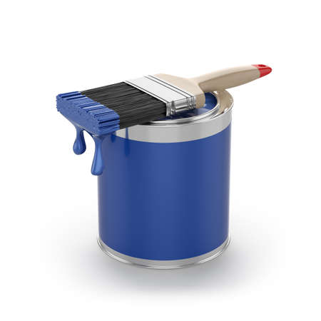 3d rendering of blue paint in the opened can with brush. Renovation concept