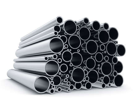 3d rendering of metal pipes isolated on white background Reklamní fotografie