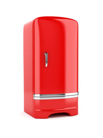 3d rendering of red refrigerator, isolated on white background photo