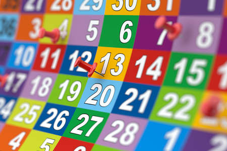 3d rendering of colorful month calendar with red pins. Illustration with soft focus Archivio Fotografico