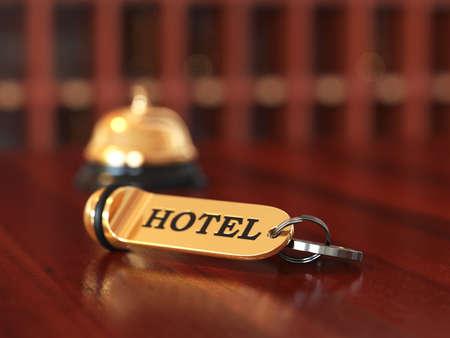 campanas: Cierre de sala de clave de acceso y la campana en el escritorio de recepci�n de madera. Ilustraci�n enfoque suave