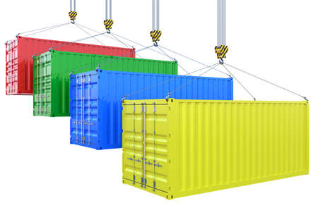 shipped: 3d rendering of different colors cargo containers on the crane hook isolated Stock Photo