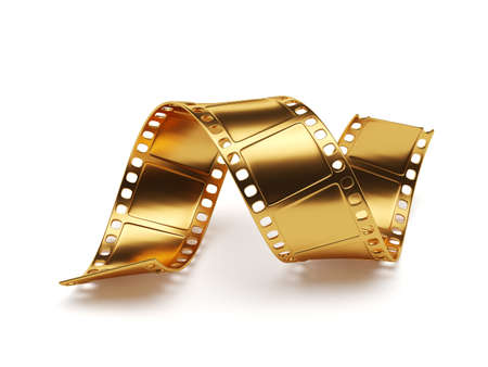 video reel: 3d rendering of golden film strip isolated on white background. Entertainment concept Stock Photo