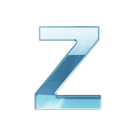 3d render of glass glossy transparent alphabet letter symbol - Z. Isolated on white background photo