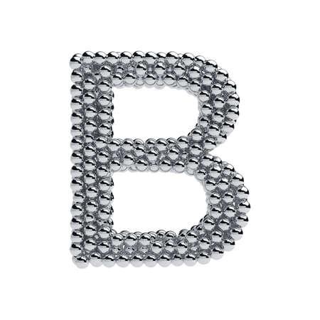 b ball: 3d render of metallic spheres alphabet letter symbol - B. Isolated on white background