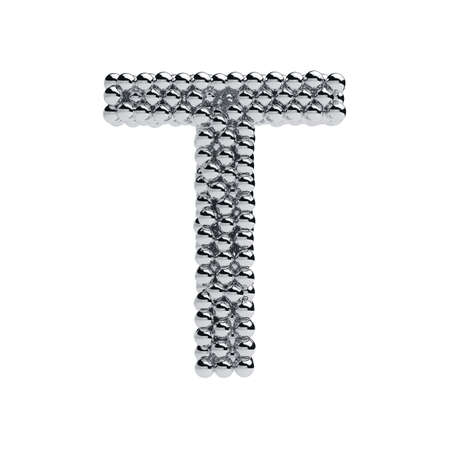 solid silver: 3d render of metallic spheres alphabet letter symbol - T. Isolated on white background Stock Photo