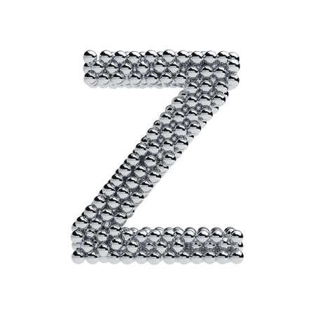 letter z: 3d render of metallic spheres alphabet letter symbol - Z. Isolated on white background