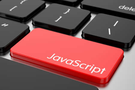 javascript: 3d renderion of computer programming coding keyboard concept. Red Enter button with machine code language Javascript