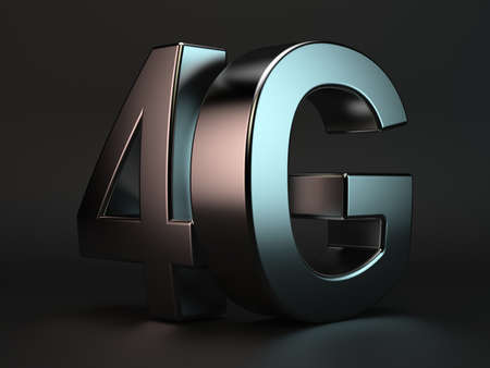 high speed: 3d rendering of 4G cellular high speed data connection concept logo