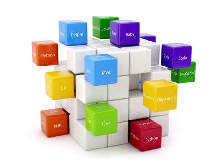 Conceito de programação. Diferentes linguagens de código máquina caixas coloridas isolado no fundo branco