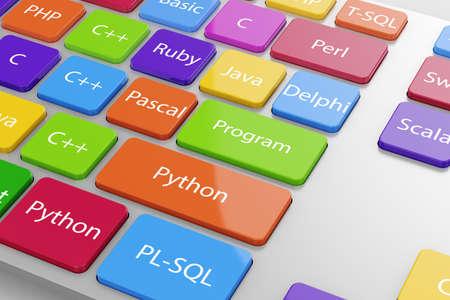idiomas: Diferentes lenguajes de código máquina Programación de botones en el teclado de la computadora. 3d ilustración