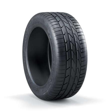 흰색 배경에 고립 된 하나의 새로운 사용되지 않는 자동차 타이어의 3d 렌더링 스톡 콘텐츠 - 42066941