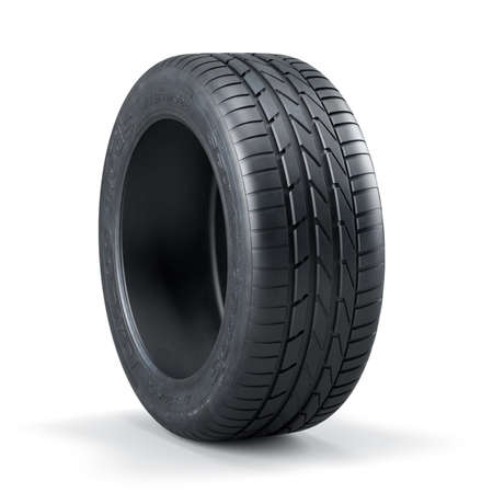 tyre: 3d rendering of a single new unused car tire isolated on white background
