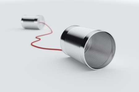 3d rendering of phone can with red cable. Soft focus image Foto de archivo