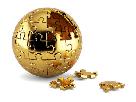 3d rendering of a golden spherical jigsaw puzzle with gold segments isolated on white background