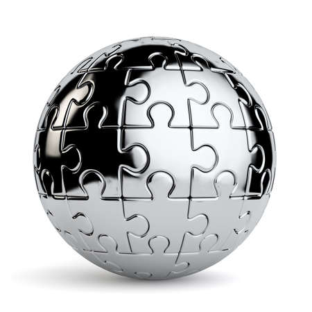 3d rendering of a spherical jigsaw puzzle isolated on a white background