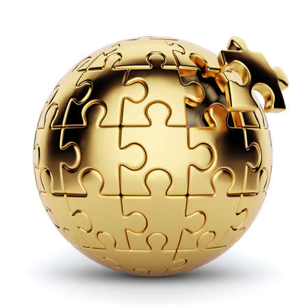 3d rendering of a golden spherical puzzle with one piece disconnected. Isolated on white background Standard-Bild