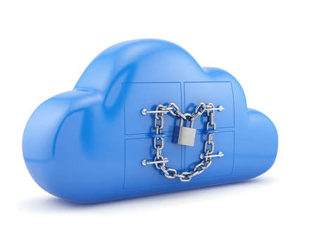 Cloud security concept. Blue cloud with padlock and chain isolated on white background