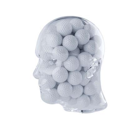 ガラス透明な頭部の 3 d レンダリングは、ゴルフ ・ ボールでいっぱい。白い背景上に分離。プレーヤーのコンセプト