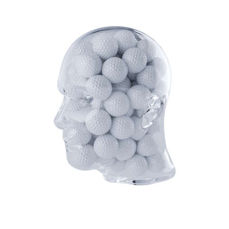 3d rendering of glass transparent human head filled with golf balls. Isolated on white background. Player concept