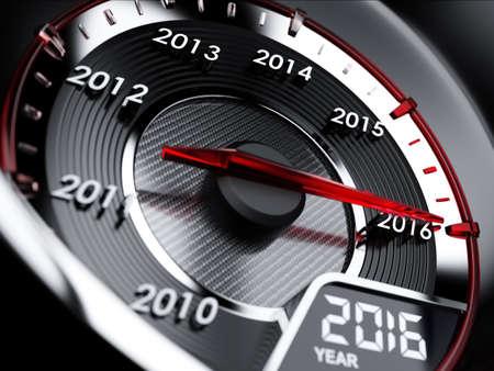3d illustration of 2016 year car speedometer. Countdown concept Standard-Bild