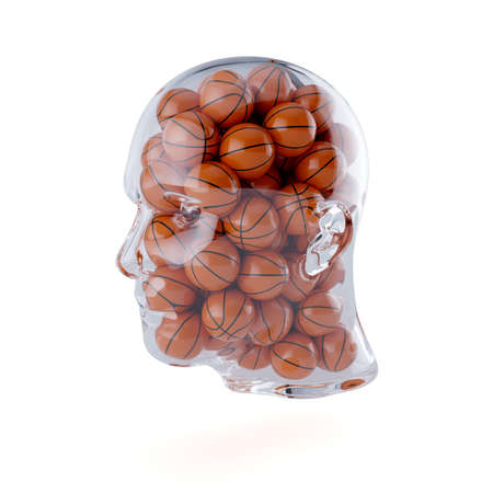 3d rendering of glass transparent human head filled with basketball balls. Isolated on white background. Player concept Stock Photo