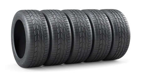 tire: 3d rendering of new unused car tires row isolated on white background Stock Photo