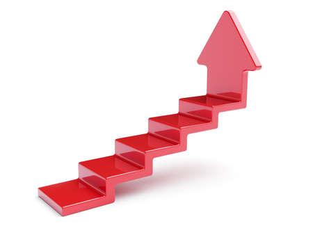 赤の上向き矢印の階段が白い背景で隔離の 3 d レンダリング