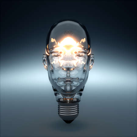 3d rendering of glass head shaped light bulb glowing. AI creativity concept Archivio Fotografico