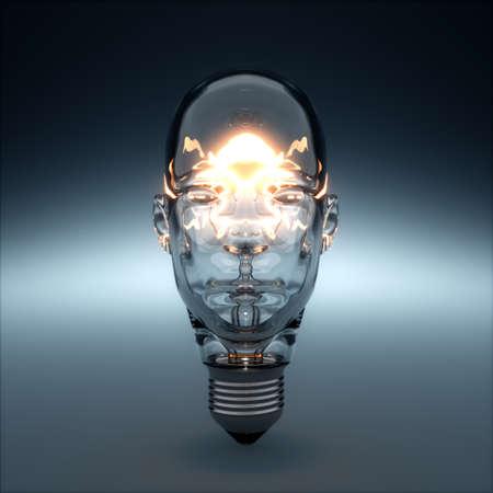 3d rendering of glass head shaped light bulb glowing. AI creativity concept Foto de archivo