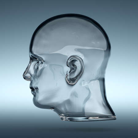 human head: 3d rendering of empty glass transparent human head