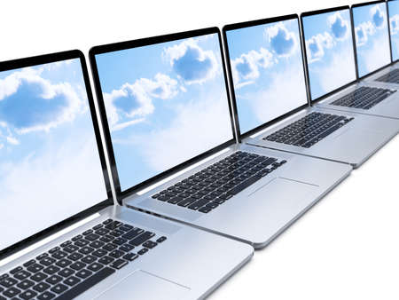 in a row: 3d rendering of laptops row isolated on white background