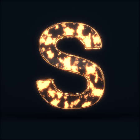 3d render of glass glowing fire letter S symbol on the dark background