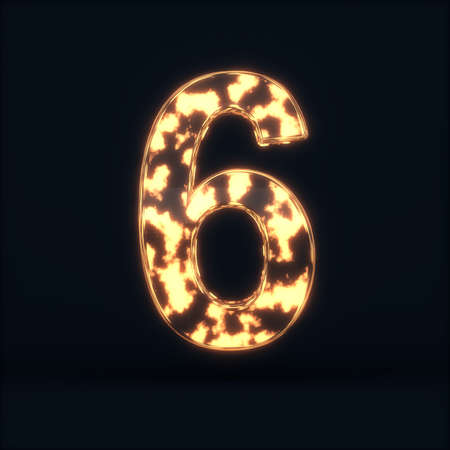 3d render of glass glowing fire digit six symbol - 6 on the dark background