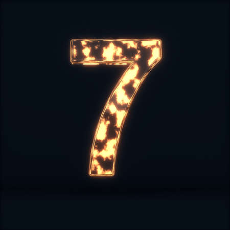 3d render of glass glowing fire digit seven symbol - 7 on the dark background Stock Photo