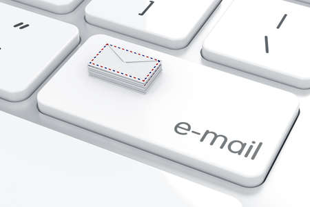 send: Mail envelopes on the computer keyboard. Email concept
