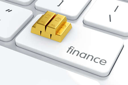 goldbar: Golden bars on the computer keyboard. Finance concept Stock Photo