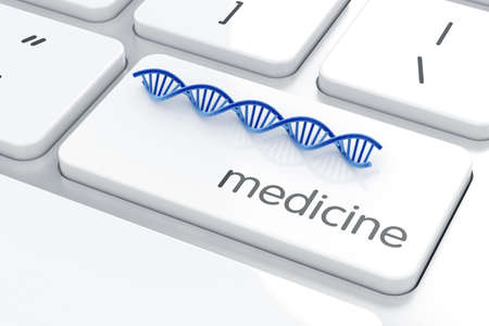 researchs: DNA molecule on the computer keyboard. Medicine concept