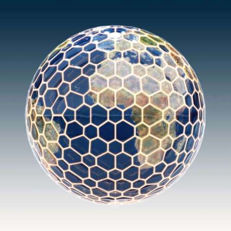 secure: Earth planet with glowing protection wire. Safety technology concept. Elements of this image furnished by NASA