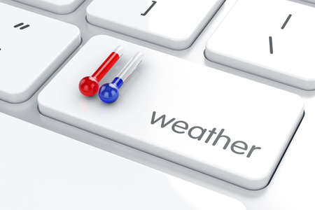 growth hot: 3d render of Enter button with Hot and Cold thermometer temperature.Weather concept