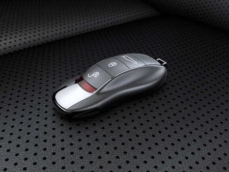 headrest: Modern sport car key on the leather seat Stock Photo