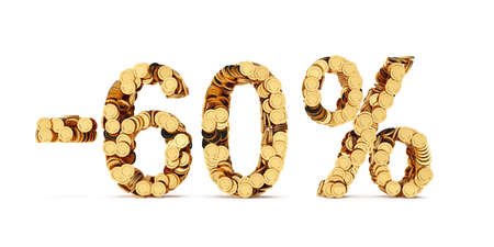 price cut: 3d rendering of 60 percent price cut off. Golden discount coins letters isolated on white background