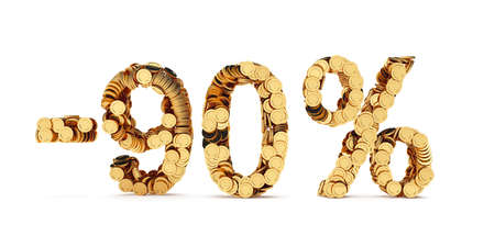 cut off: 3d rendering of 90 percent price cut off. Golden discount coins letters isolated on white background