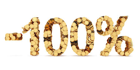 price cut: 3d rendering of 100 percent price cut off. Golden discount coins letters isolated on white background